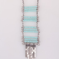 Tiered Beaded Necklace - Silver