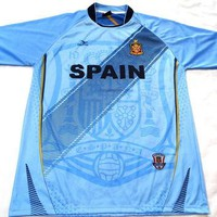 """Spain Blue Country Soccer Jersey """"One Size"""" = Athletic Men's Large by Drako"""