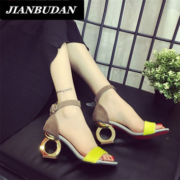 Female high-heeled sandals summer new fashion personality shaped with open-toed sandals woman shoes wild Office