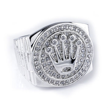 Silver Finish Crown King Cubic Zirconia Ring