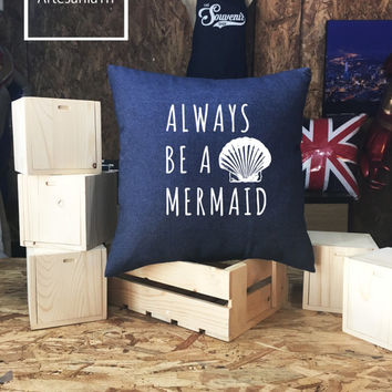 Mermaid Off Duty Pillow cover Jean cotton canvas, Cushion cover, small pillow case, 16x16 , canvas pillow cover
