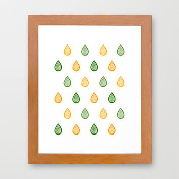 Yellow and green raindrops Framed Art Print by Savousepate