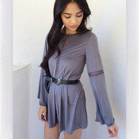 Warm Dusk Suede  Playsuit- Grey