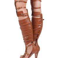 STUDDED KNEE HIGH CUT OUT STRAPPY GLADIATOR SANDALS BOOTS TAN
