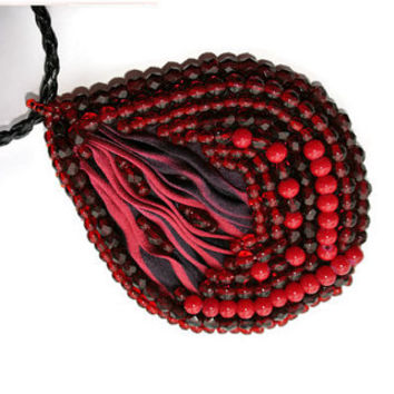 OOAK Deep Red pendant, Beaded Necklace, Beadwork, Red Beadwork, Shibori silk Necklace