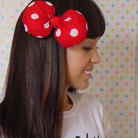 Red Bow hair clip Red and White bow Polka Dot Disney Minnie Mouse Style Big Hair Clip Kawaii Lolita Style adorable Women Teens Girls
