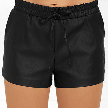 What's In Black Vegan Leather Shorts