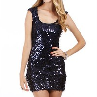Navy Homecoming Sequin Dress