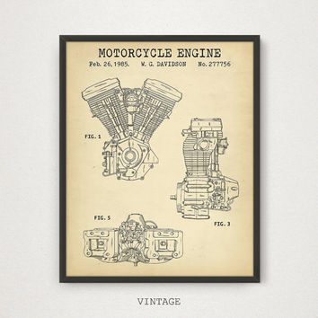 Harley Davidson Motorcycle Engine Patent Print, Vintage Engine Patent, Gift for Him, Motorcycle Art, Harley Patent Poster, Man Cave Decor