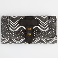 Tribal Polka Dot Print Fold-Over Wallet Black One Size For Women 26286810001