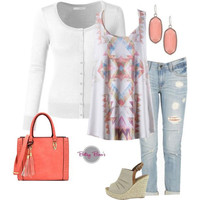 Set 441: White Abstract Tank (includes tank, cardy & earrings)