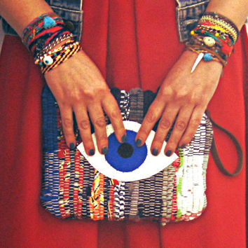 Boho Bag, Fatima Eye Wristlet Purse, Boho Chic Evil Eye Small Fabric Handbag