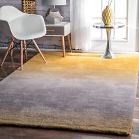 nuLOOM Hand Tufted Ombre Contemporary Yellow Shag Area Rug