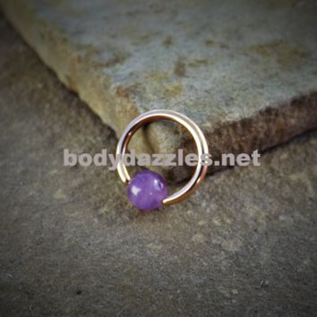 Rose Gold Captive Hoop Cartilage Earring with Amethyst  Bead Body Jewelry Helix Tragus Daith 16ga Upper Ear Jewelry 316L Surgical Stainless Steel
