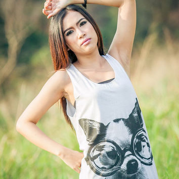 Dog Tank Top - Women t-shirt Tank top Tunic Unisex Shirt Vest Women Sleeveless Singlet white T-Shirt Size M L