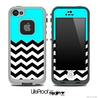 Turquoise Black and White Chevron Pattern V3 Skin for the iPhone 5 or 4/4s LifeProof Case