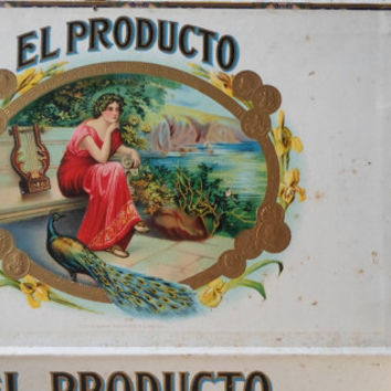 Wooden Cigar Box, Vintage, Tobacco, 1920s, 1930s, Original Tax Stamp, Wooden Box, Great Graphics, Industrial Storage, All Vintage Man