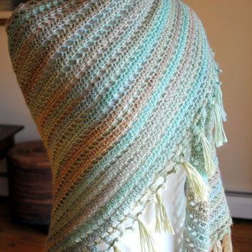 Crochet shawl with fringe, mulicolor blue, green, brown, spring shawl, easter