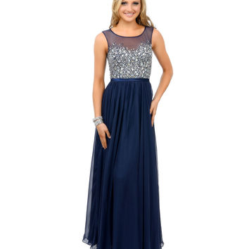 Navy Blue Crystal Beaded Sleeveless Chiffon Long Dress 2015 Prom Dresses