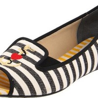 J.Renee Women`s Anchor Flat,Black/Natural,9 W US