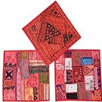 Mogul 3pc Cushion Covers Vintage Pink Red Patchwork Decorative Pillow Cover 16 x 16