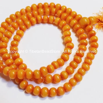 108 Beads - Tibetan Amber Resin Mala Prayer Beads - Mala Making Supplies - Light Weight 8mm Amber Resin Mala with Guru Bead - PB115