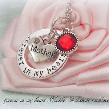 Mother Necklace, In Memory of Mother Personalized Jewelry, Loss of Mother Memorial Necklace, Forever in My Heart Personalized Mother Jewelry