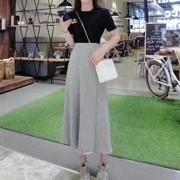 """Chanel"" Women Casual Fashion Short Sleeve T-shirt Long Skirt Set Two-Piece"