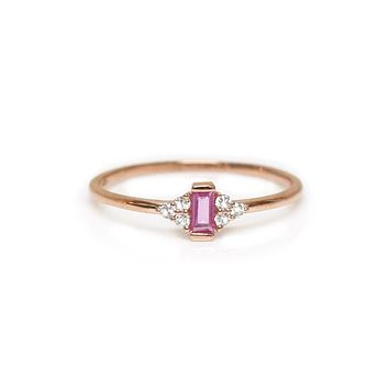 14kt Rose Gold Pink Sapphire & Diamond Bisoux Ring
