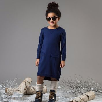 Teela Girls' Navy Balloon Solid Dress