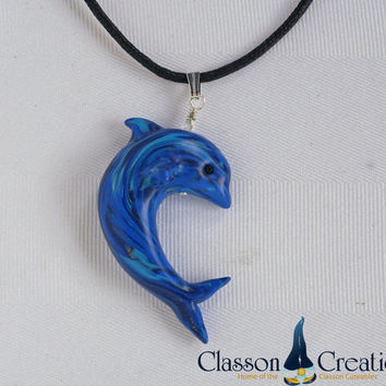 Dolphin Necklace ~ Handmade Polymer Clay Dolphin Jewelry ~ Wearable Art ~ Faux Lapis Pendant ~ Unique Jewelry by Classon Creations