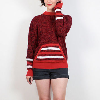 Vintage 80s Sweater Red Black White Striped Boyfriend Sweater Mod 1980s Sweater Sporty Hoodie POCKET Letterman Sweater Chunky Knit M Medium