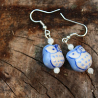 Handpainted Owl Earrings, Glass Bead Earrings, Handpainted Glass Owl, Dangling Earrings, Purple Owl Earrings, Nickel Free Earrings, Cute Owl