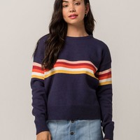 SKY AND SPARROW Chest Stripe Womens Sweater