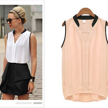 New Summer Fashion Solid Chiffon Women Blouses O-Neck Sleeveless Sexy Shirt Casual Tops Clothing Blusas
