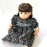 Baby Doll Dress Chocolate Brown Aqua Turquoise Blue Birthday Party Summer Spring Bitty Twin 14 to 16 inch Clothes --US Shipping Included