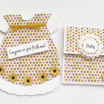 Yellow Flower Dress,Congrats on Your little One Card, New Baby Girl Card,Card and  Gift Card Set