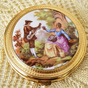 Gold mirror and decorative porcelain, Vintage French Limoges, handbag mirror, Vintage French