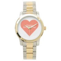 Happy Mother's Day Orange Heart Women's Watch