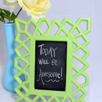 Upcycled Framed Chalkboard, Geometric, Chalk Board, Lime Green Apple, Home Decor, Message Board, Repurposed, Wedding Sign, Chalkboard Frame