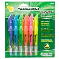 Ticonderoga Emphasis Fluorescent Highlighters, Pocket Style with Clip, Chisel Tip, Pack of 6 Markers, Assorted Colors (48008)