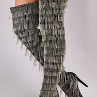 Suede Pointy Toe Chain Fringe Over-The-Knee Stiletto Boots