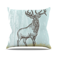 "Sam Posnick ""Elk Scene"" Outdoor Throw Pillow"
