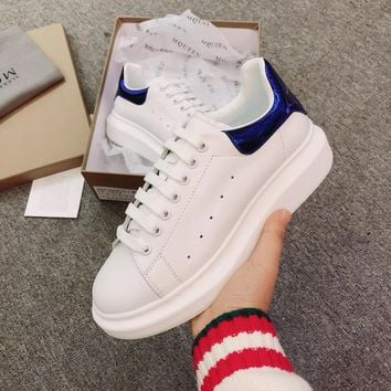 Alexander Mcqueen's world-class classic leather casual shoes watermelon Blue mirror