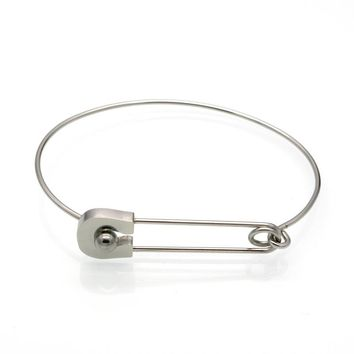 Stainless Steel Safety Pin Bangle Bracelet