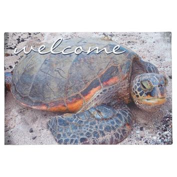 """Welcome"" Hawaii sea turtle close-up photo doormat"