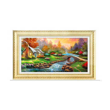 Diamond Painting Full-jewelled Oil Painting Diamond Stitch Mediterranean Landscape Garden Small House Diamond Paste Cross Stitch Crystal Round Diamond