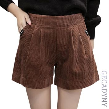 Autumn Winter Corduroy Elegant Women Shorts Thick Harem Shorts Women Green Black Coffee Casual Women High Waist Shorts Size 5XL