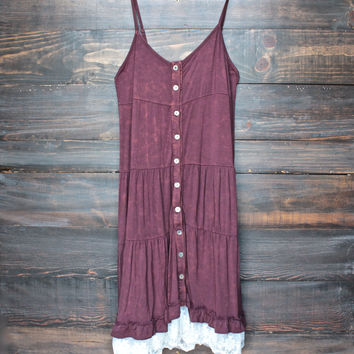 mimosas on the beach dress - vintage burgundy