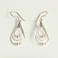 Sterling Silver Triple Teardrop & Ball Statement Dangle Earrings, Womens Silver Earrings, Minimalist Statement Jewelry, Modern Jewellery